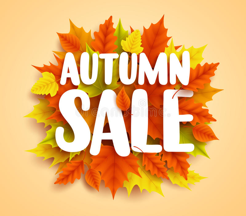 Autumn sale text vector banner with colorful seasonal fall leaves in orange background royalty free illustration
