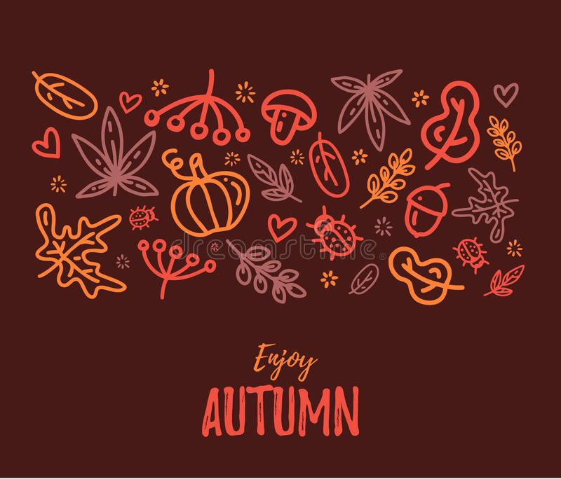 Autumn sale text vector banner with colorful seasonal fall leaves in orange background for shopping discount promotion. Vector illustration royalty free illustration