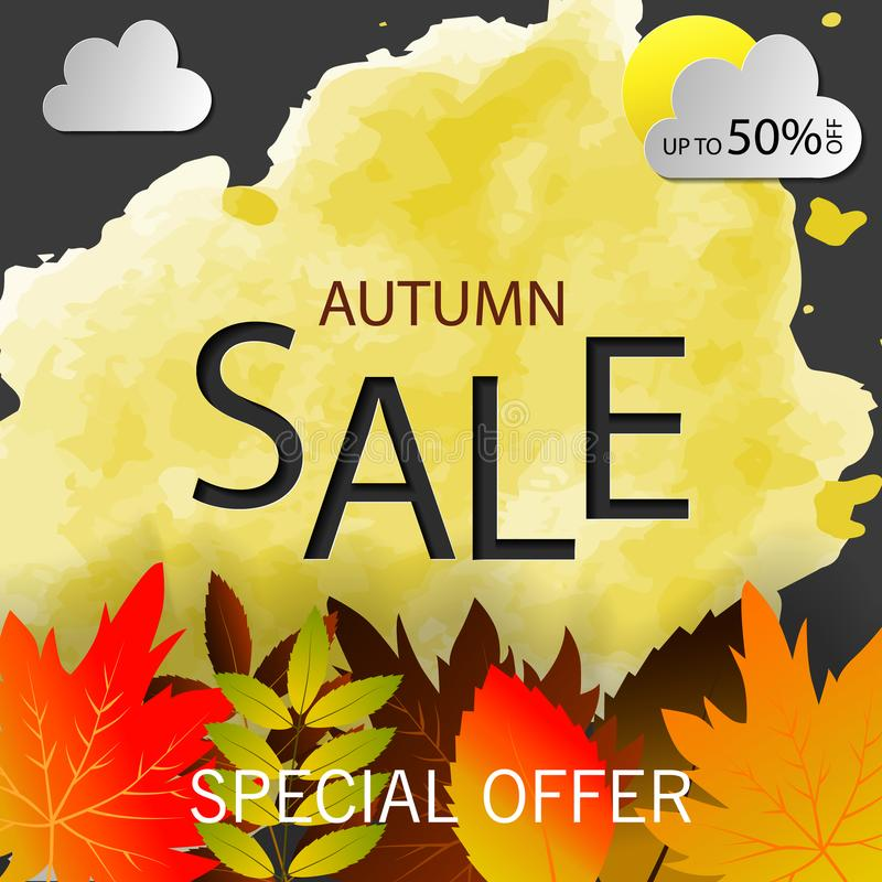 Autumn sale text vector banner with colorful seasonal fall leaves in orange background for shopping discount promotion. Vector i. Llustration stock illustration