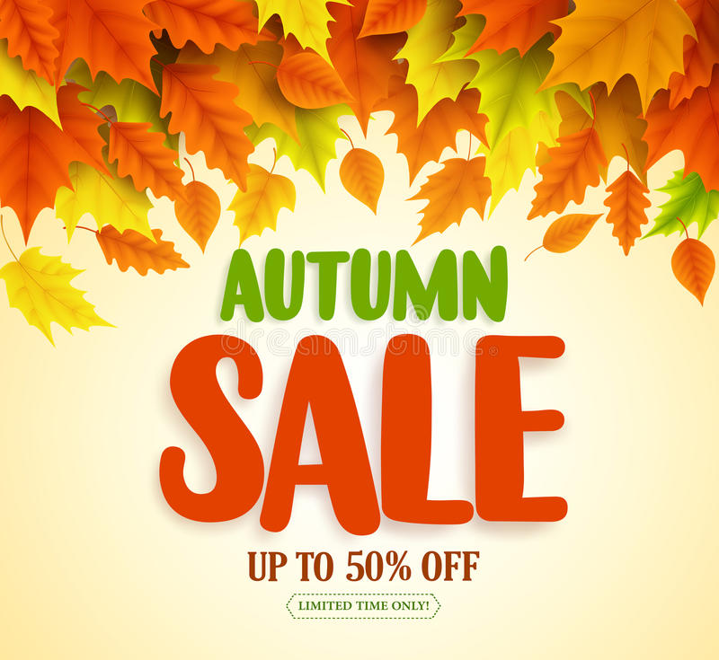 Free Autumn Sale Text Vector Banner Design With Colorful Fall Season Leaves Falling Royalty Free Stock Photography - 96798857