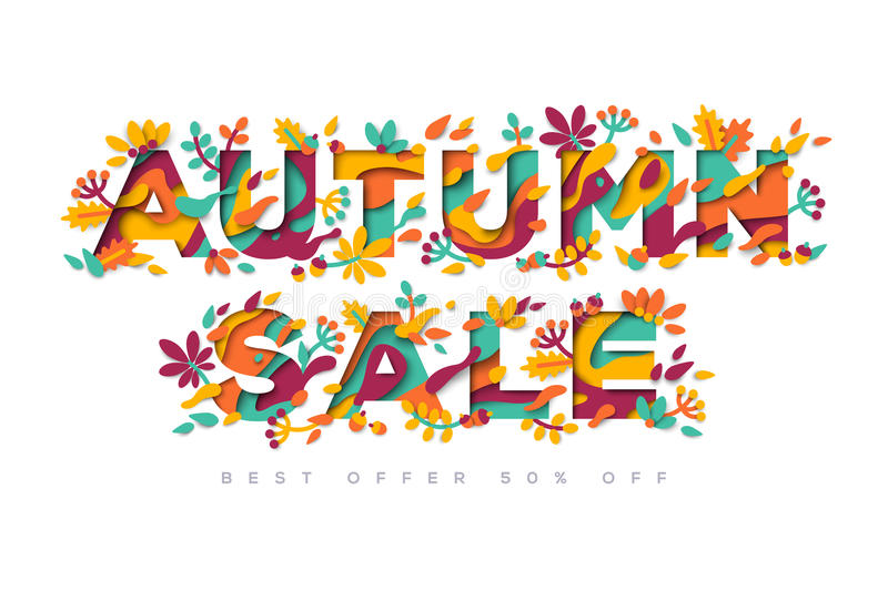 Autumn Sale typography design stock illustration