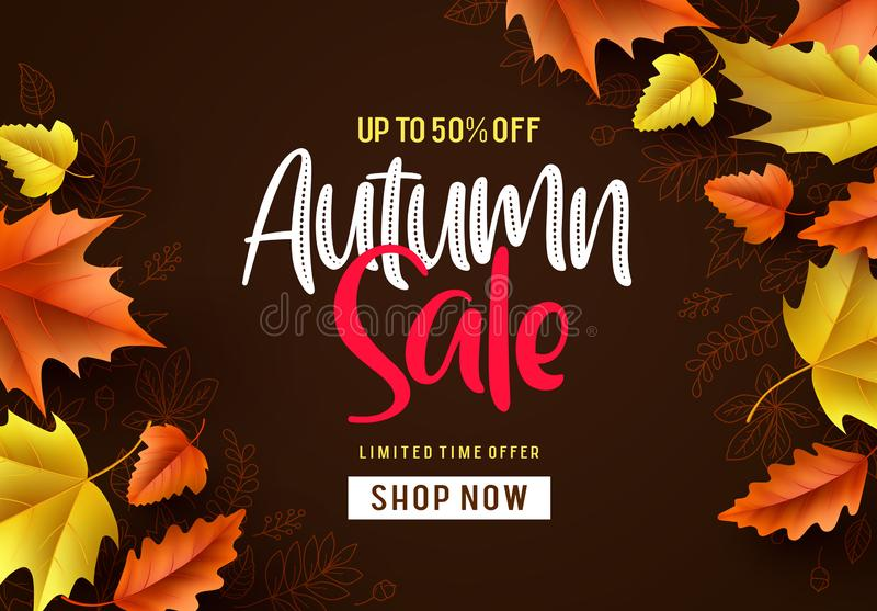 Autumn sale vector background. Fall season banner design with autumn sale and discount text vector illustration