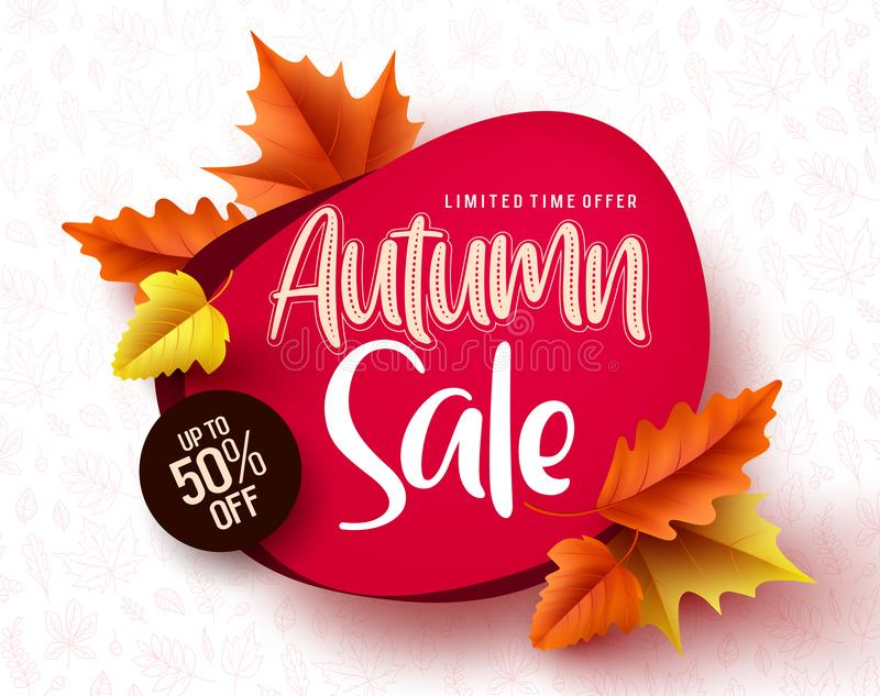 Autumn sale vector banner. Autumn sale and discount text in red space with maple leaves vector illustration
