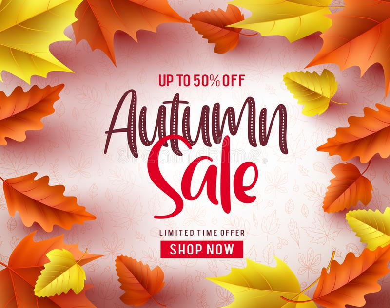 Autumn sale vector banner background. Autumn sale text and maple leaves stock illustration