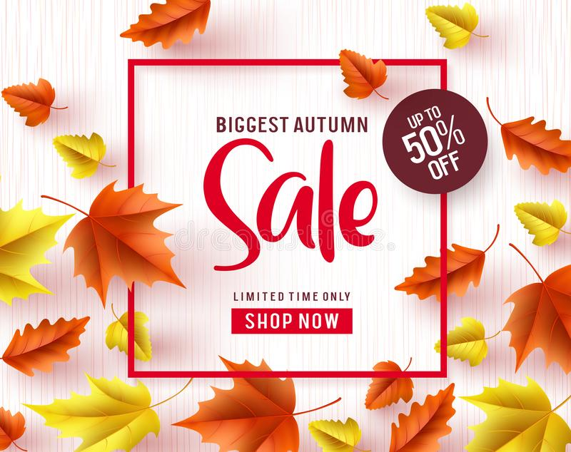 Autumn sale vector banner. Biggest autumn sale text with maple leaves vector illustration