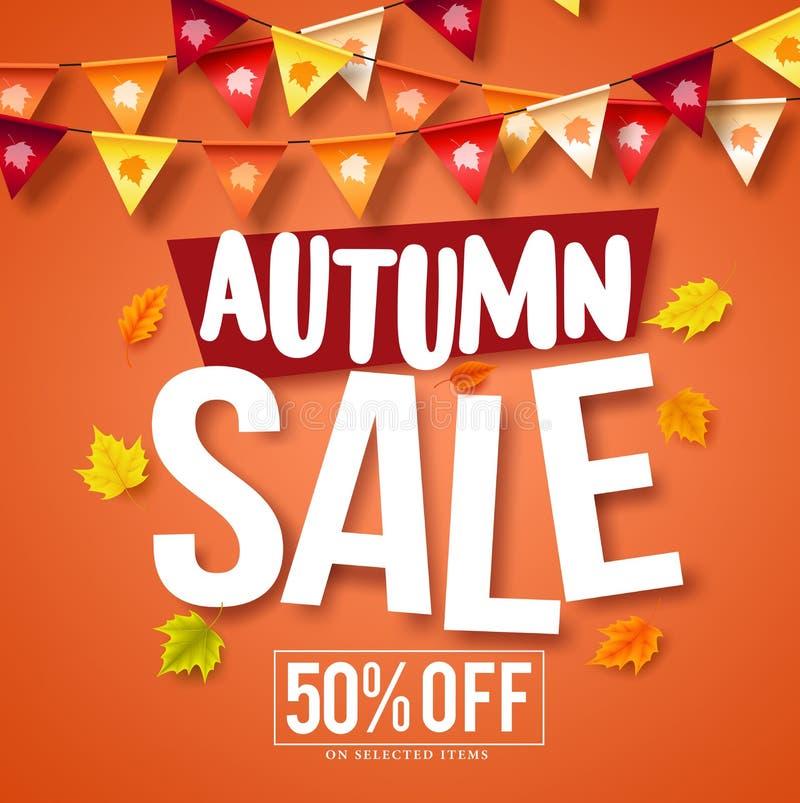 Autumn sale vector banner design with fall season maple leaves vector illustration