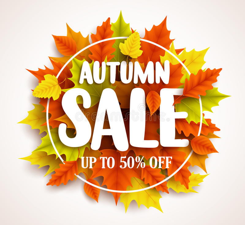 Autumn sale vector banner design with text in colorful fall leaves and circle frame. In a background for seasonal marketing discount promotion. Vector stock illustration