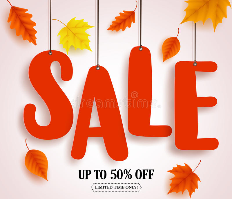 Autumn sale vector banner. Sale text in red color hanging with autumn leaves royalty free illustration
