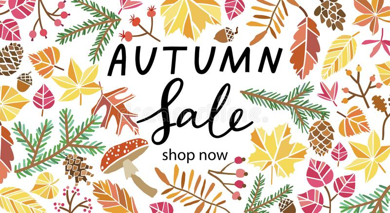 Autumn sale vector design. Fall leaves background. Autumn sale vector design. Fall background with leaves royalty free illustration