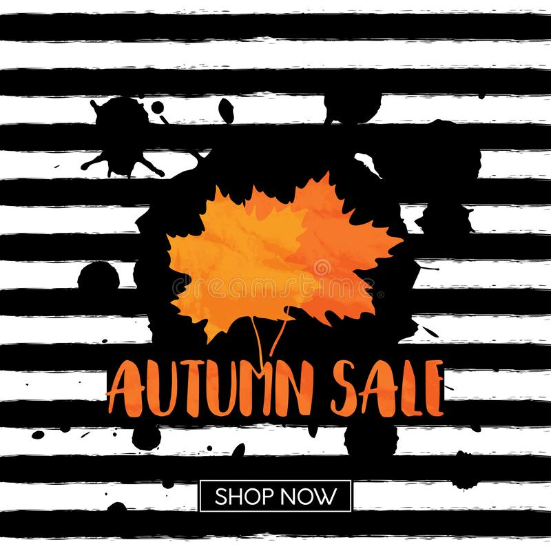 Autumn sale. Vector grunge background with black hand drawn stripes and blobs, maple textured leaves and lettering stock illustration