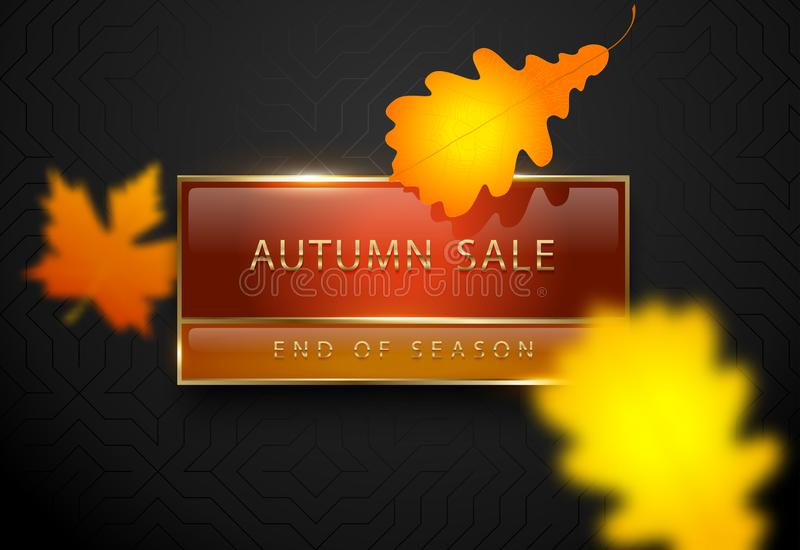 Autumn sale vector poster with yellow autumn leaves. Dark luxury banner. Golden text on red orange rectangular label gold frame. vector illustration