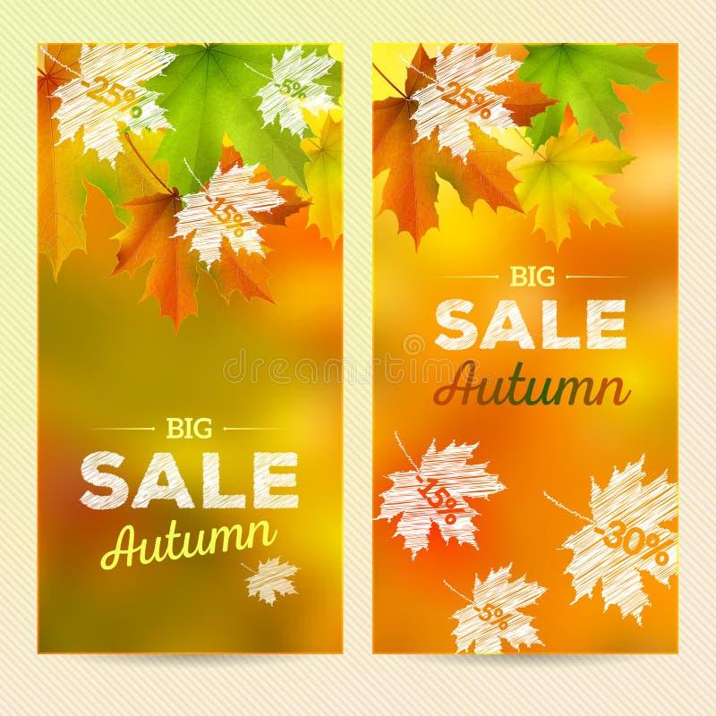 Autumn Sale, 2 vertikale Fahnen vektor abbildung