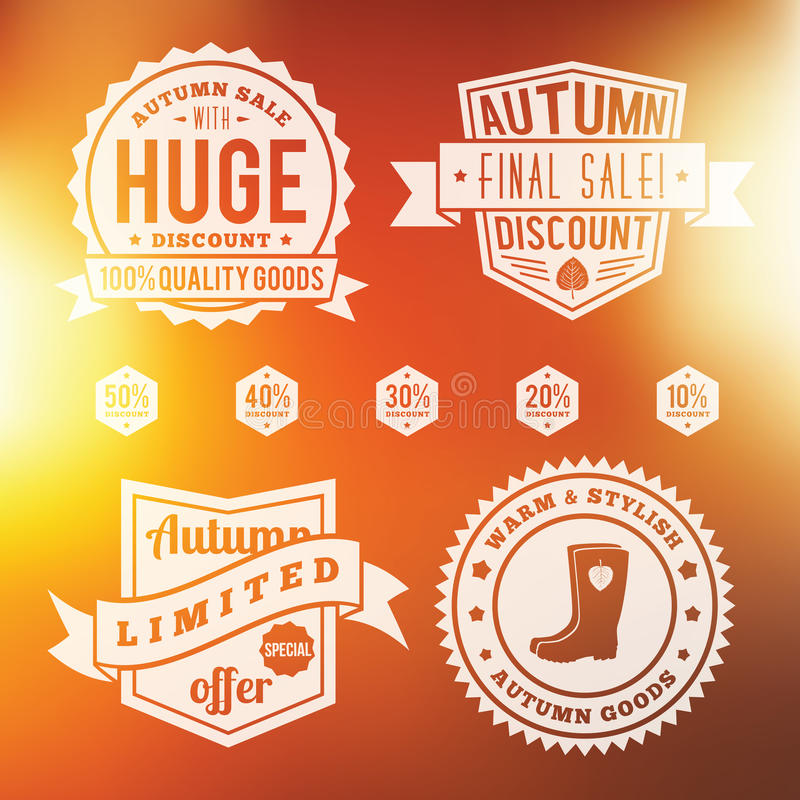 Autumn Sale Vintage Badges Set With Abstract. Autumn Sale Vintage Discount Badges Set With Abstract Vector Autumn Background vector illustration