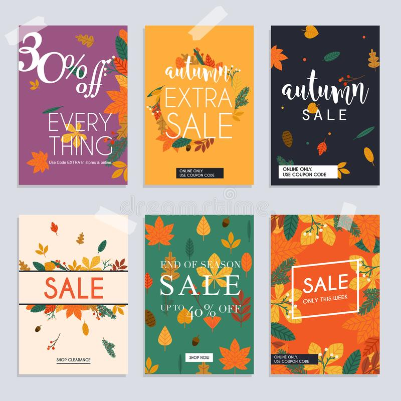 Autumn sale website banners web template collection. Can be used royalty free illustration