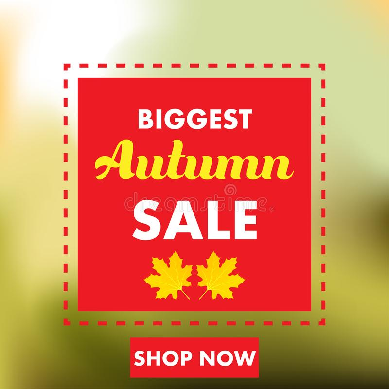 Autumn sale yellow fall leaves background. Colorful foliage nature element banner vector. Business retail abstract decoration. Space. Color poster blank stock illustration
