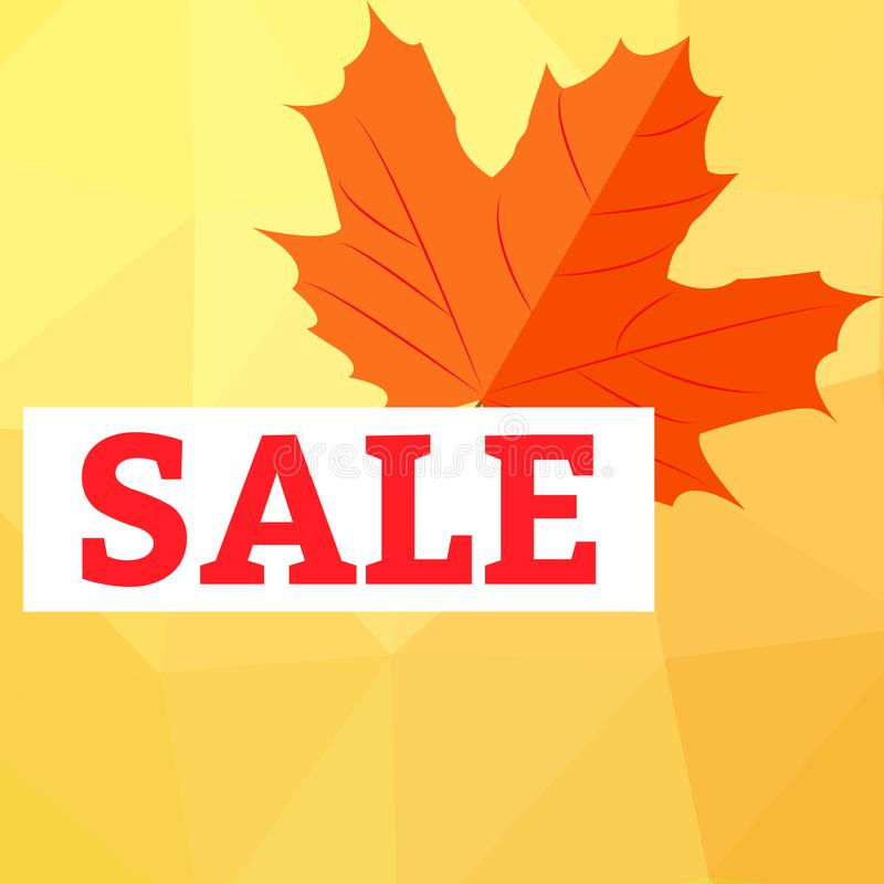 Autumn sale with yellow leaves on colored abstract spots royalty free illustration