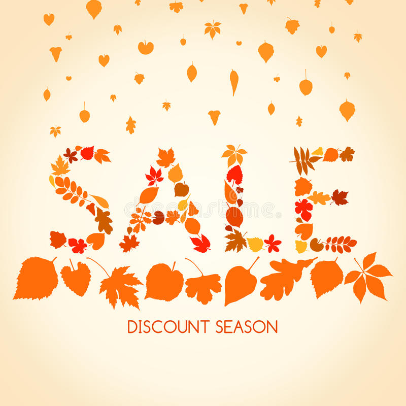 Autumn sales banner with autumn leaves stock illustration
