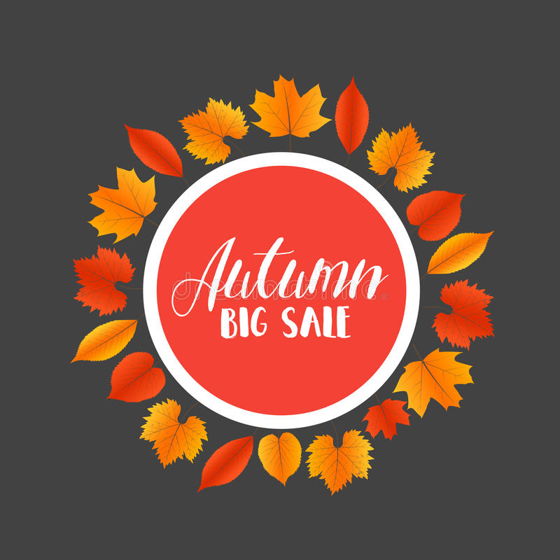 Autumn Sales Banner With Colorful-Blätter Vektor vektor abbildung