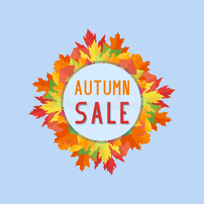 Autumn sales banner with colorful fall leaves on blue background. Vector illustration royalty free illustration