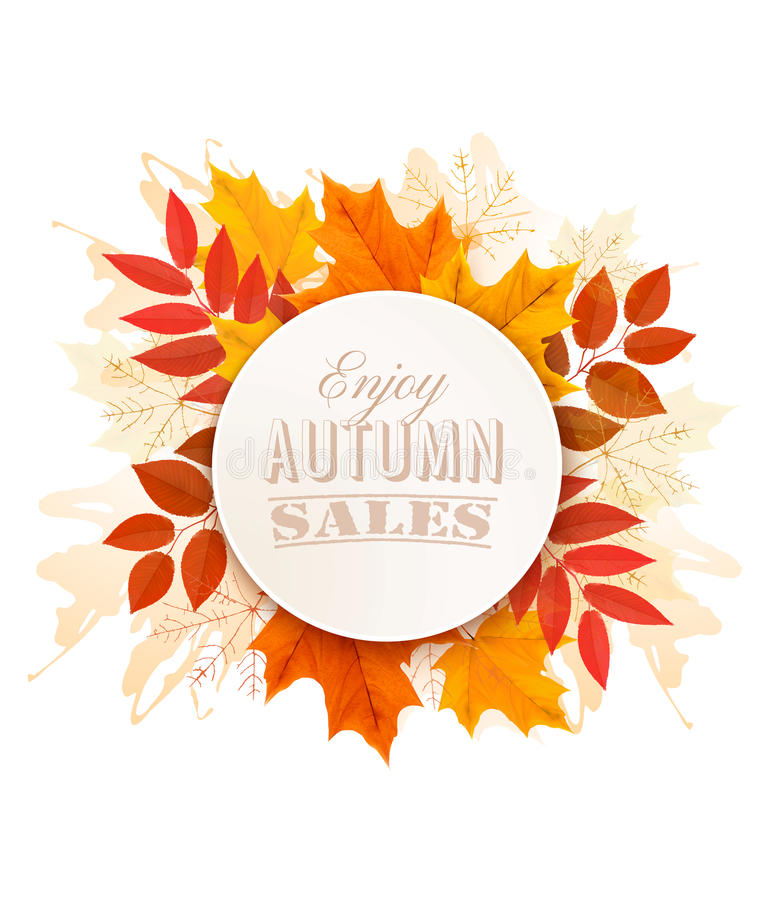 Autumn Sales Banner With Colorful Leaves. royalty free illustration