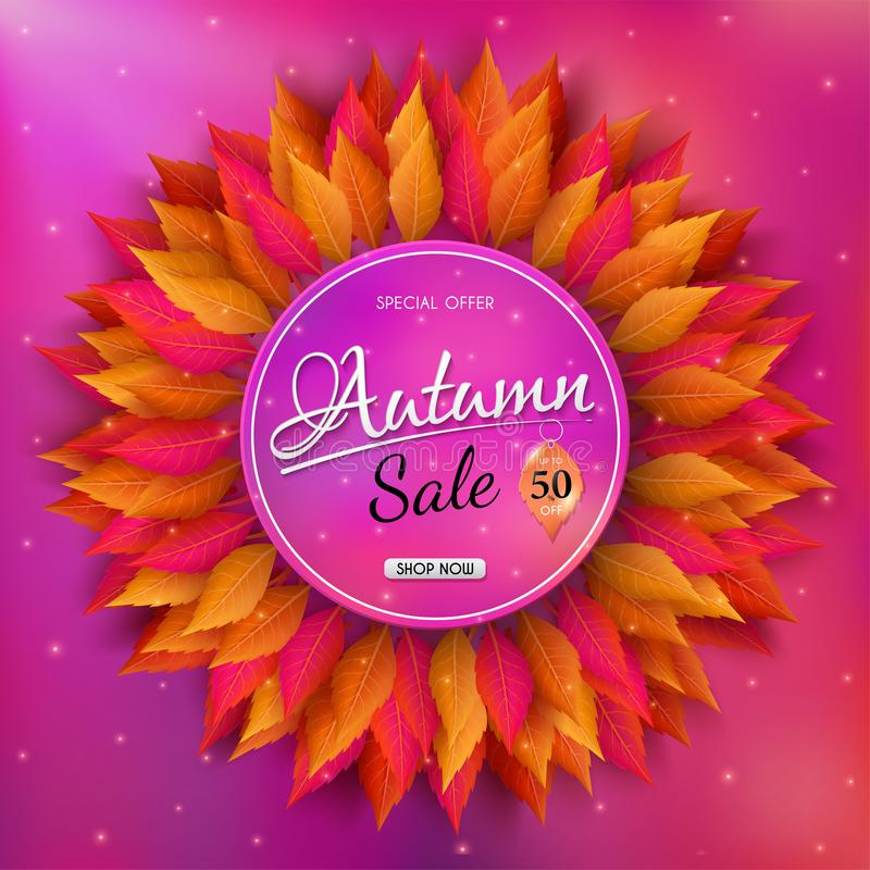 Autumn sales banner design with colorful seasonal fall leaves. and concept autumn advertising. For shopping discount promotion, frame leaflet or web banner vector illustration