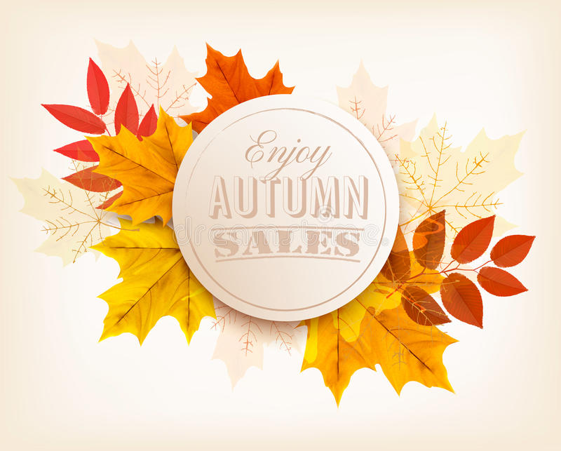 Autumn Sales Banner Vetor ilustração stock