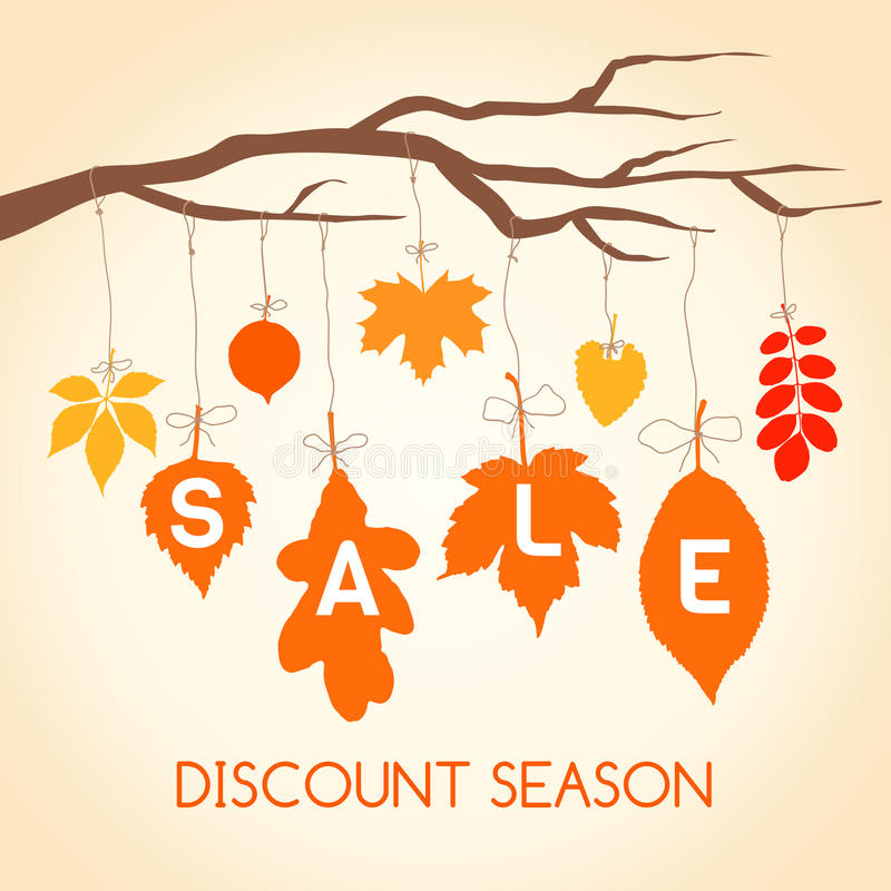 Autumn sales banner for your design. royalty free illustration