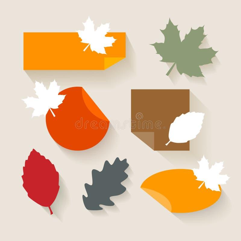 Autumn Sales Stickers Flat Design royaltyfri illustrationer