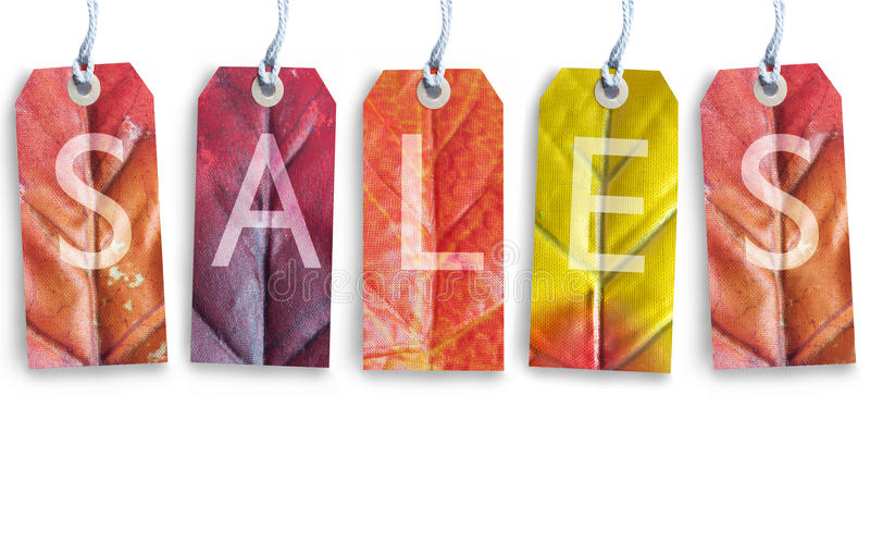 Autumn sales. Tags over a white background royalty free stock photo