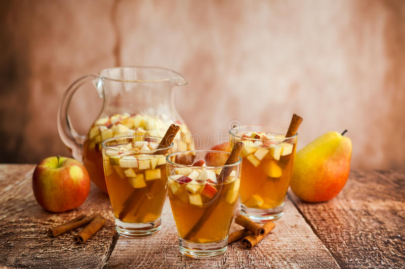 Autumn Sangria. With apples,pears and cinnamon stock photo