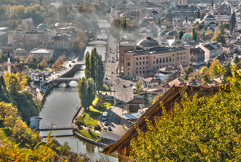 Autumn in Sarajevo. View of Sarajevo from the Hill royalty free stock photos