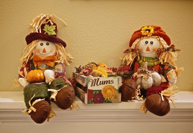 Autumn scarecrow couple stock image