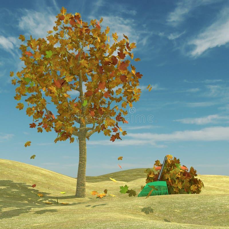 Download Autumn scene stock illustration. Image of field, rake - 25318003