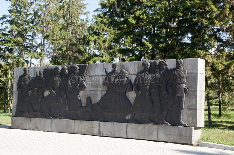 Relief to the 1917 Red Army soldiers in Memorial Square royalty free stock image