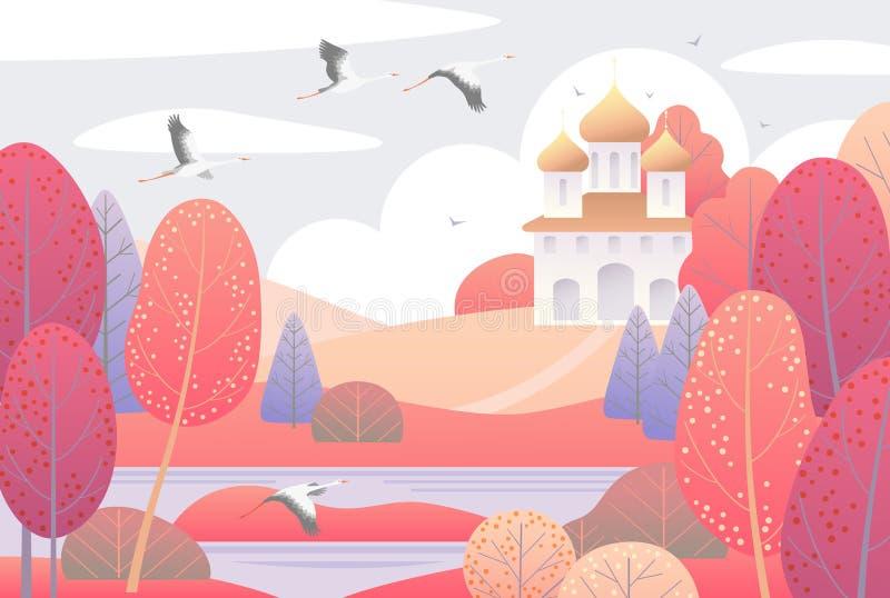 Autumn Scene com igreja e as árvores coloridas ilustração royalty free