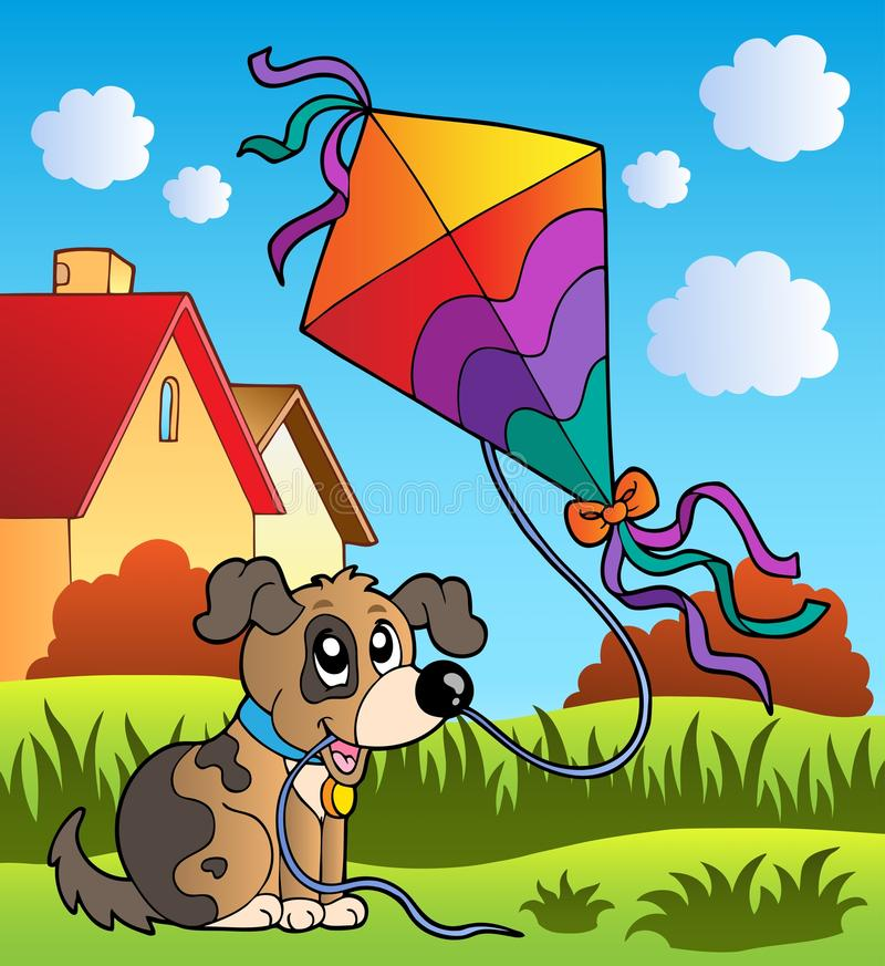 Autumn scene with dog and kite royalty free illustration