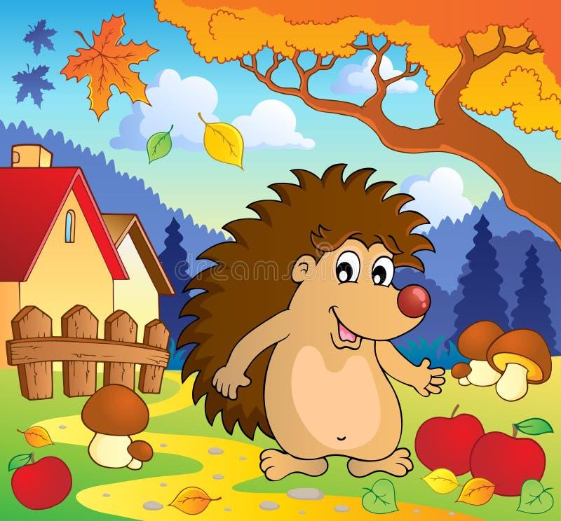 Autumn scene with hedgehog 1 stock illustration