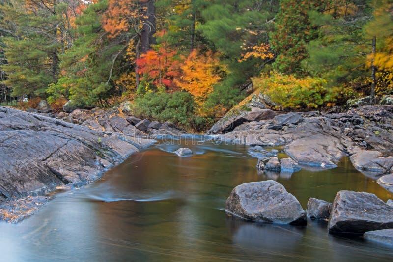 Autumn Scene On Muskoka River stockfoto