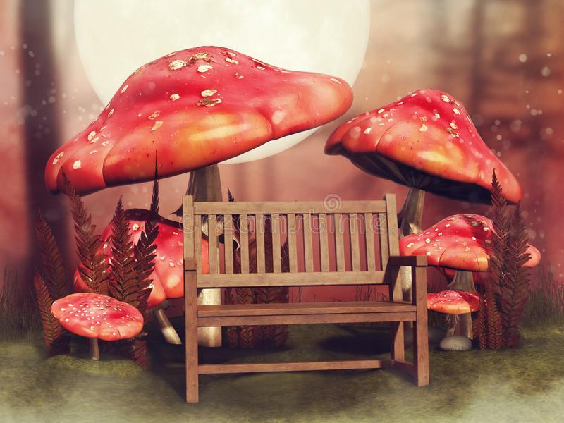 Wooden bench and fairy mushrooms royalty free illustration