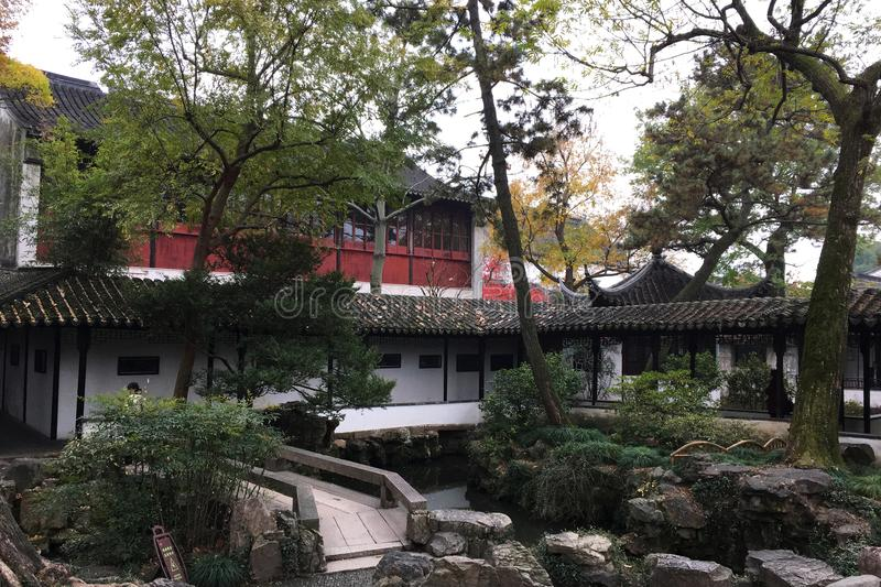 Autumn Scenery At Ancient Chinese Garden In Suzhou Stock Image