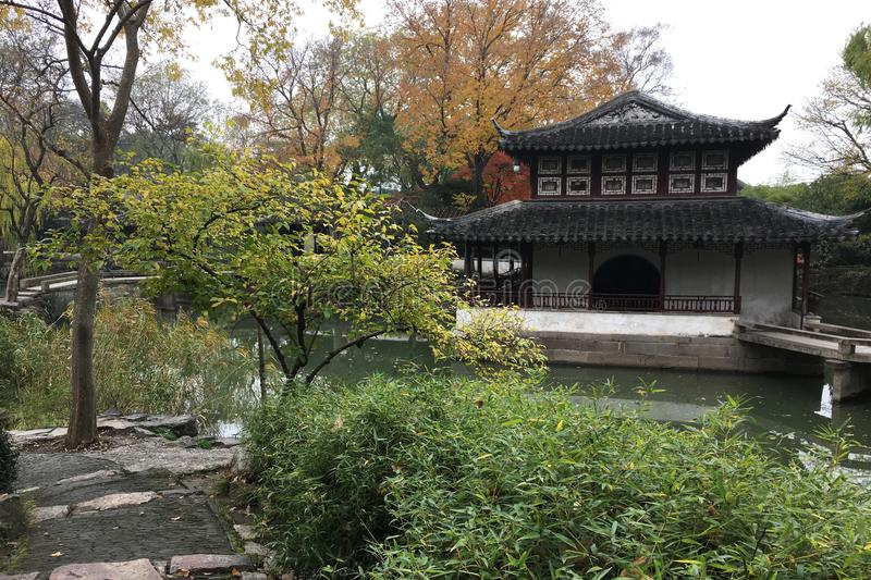 Autumn Scenery At Ancient Chinese Garden In Suzhou Stock Photo