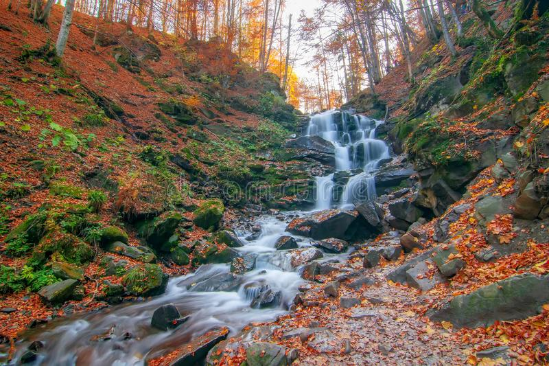 Autumn scenery with famous waterfall Shypit near Volovetz in Carpathian mountains, Ukraine. Autumn scenery with famous waterfall Shypit (Shypot) near royalty free stock images