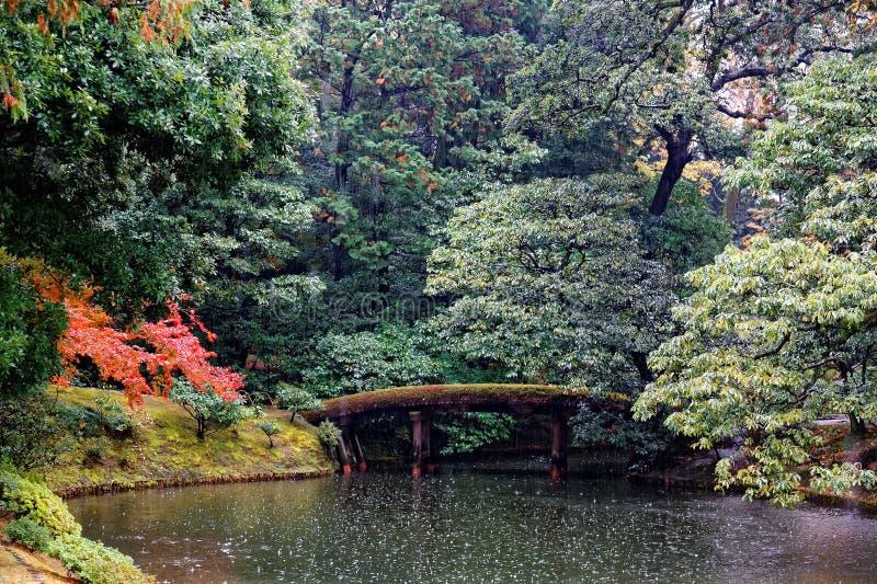 Autumn scenery of a Japanese garden in Katsura Imperial Villa  Royal Park  in Kyoto, Japan royalty free stock photos