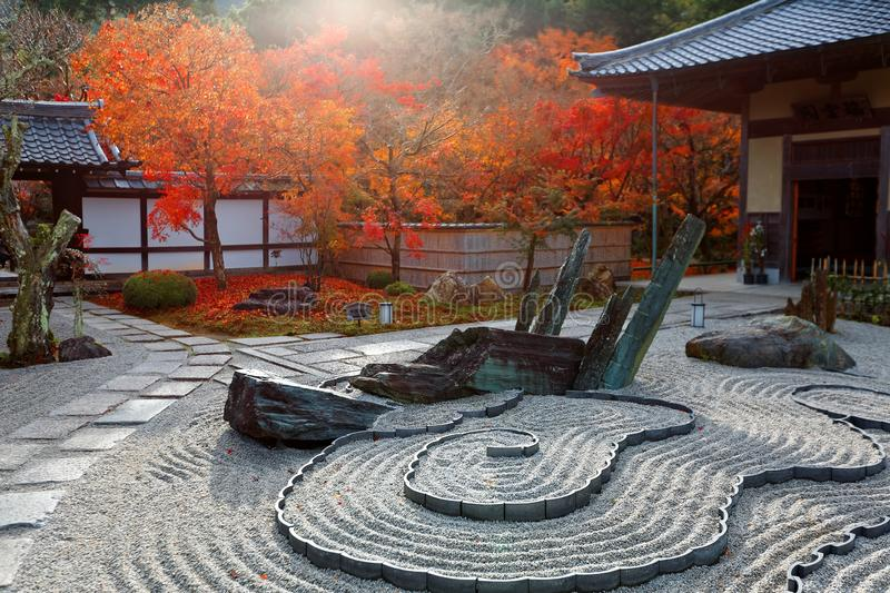 Autumn scenery of a Japanese rock garden  zen garden, dry landscape, or karesansui  in morning sunlight royalty free stock image