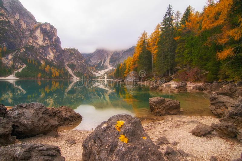 Autumn scenery of Lake Braies in Dolomite Alps, Italy royalty free stock photography