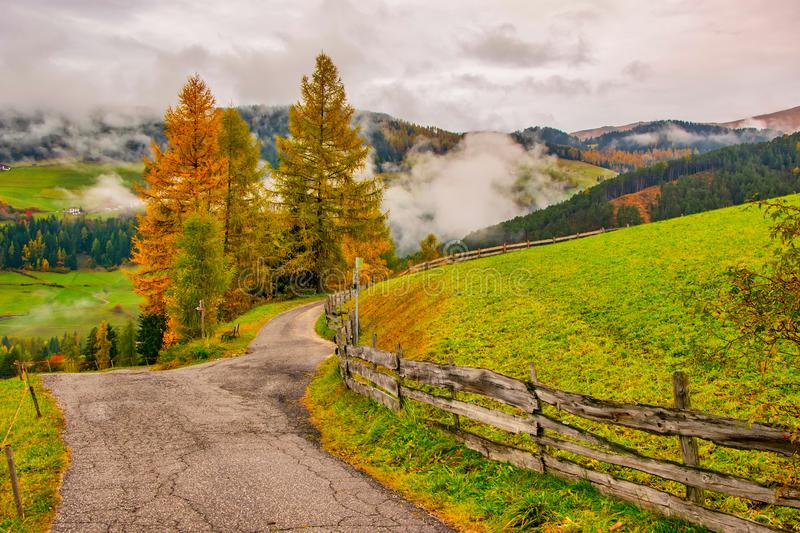 Autumn scenery in mountain village. Santa Maddalena, Val Di Funes, South Tyrol, Italy stock photos