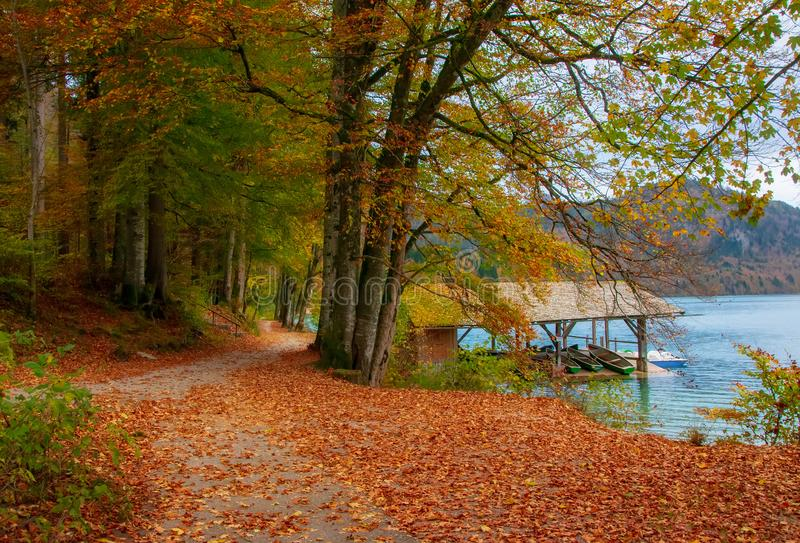 Autumn scenery with park around Alpsee lake and dock for tourist boats, Schwangau, Bavaria, Germany. Autumn scenery with park around Alpsee lake and dock for royalty free stock photo