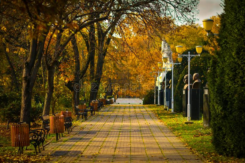 Personalities Alley of Central Park in Timisoara. Autumn scenery on Personalities Alley of Central Park in Timisoara, Timis County, Romania royalty free stock photo
