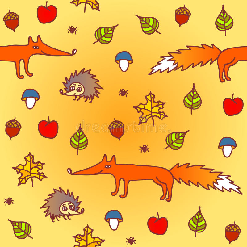 Download Autumn Seamless Background With Animals Stock Vector - Image: 32490647