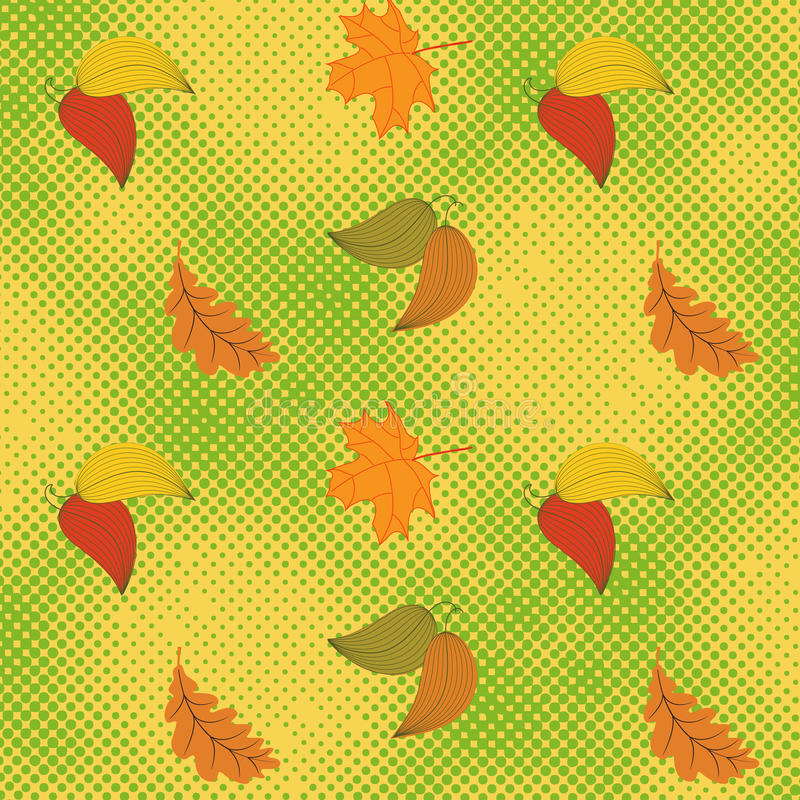 Autumn seamless background with halftone. Is illustration. May be useful for print, fabric, wrapping, packing, tapestry, craftsmanship, scrap-booking royalty free illustration